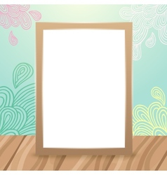 Wood frame on the desk with doodles vector