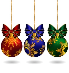 Christmas balls with bows vector