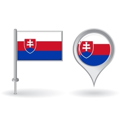 Slovak pin icon and map pointer flag vector