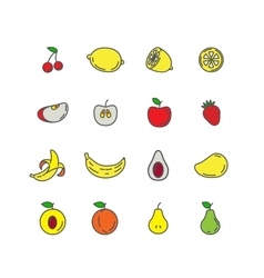 Set color line icons fruit vector