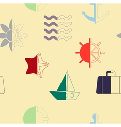 Seamless background with sea icons vector