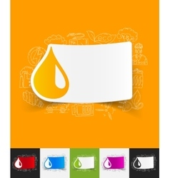Drop paper sticker with hand drawn elements vector
