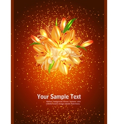 holiday card with orange lilies on a brown backgro vector image