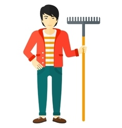 Man standing with rake vector