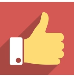 Thumb Up Flat Longshadow Square Icon vector image