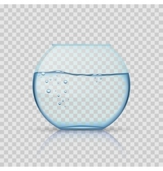 Realistic glass fishbowl aquarium with water on vector