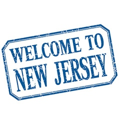 New jersey - welcome blue vintage isolated label vector