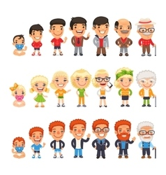Three characters aging set vector