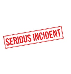Serious incident red rubber stamp on white vector image