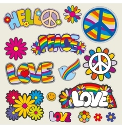 Retro hippie patches emblems vector