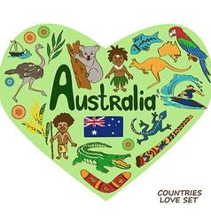 Australian symbols in heart shape concept vector