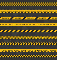 black and yellow police stripe set vector image