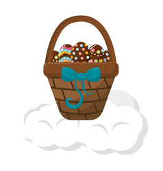 Brown hamper with ribbon bow and eggs easter vector
