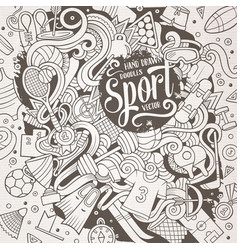 cartoon cute doodles hand drawn sport vector image