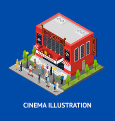 Cinema building card isometric view vector