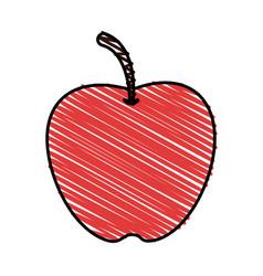 Color crayon stripe apple fruit food vector
