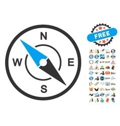 Compass icon with 2017 year bonus symbols vector
