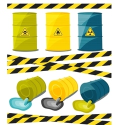 Containers with explosive and reactive substances vector