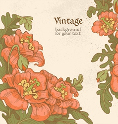 Decorative vintage frame with red poppies vector image vector image
