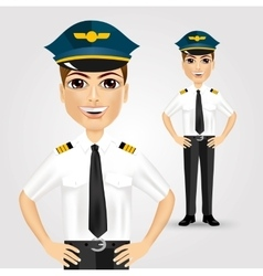Friendly pilot with hand on hips vector