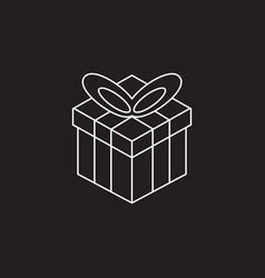 Gift box line icon outline logo vector