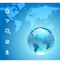 Globe and website icons on blue background of vector image