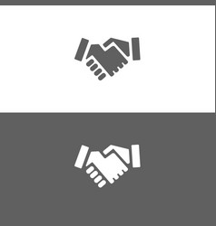 Handshake icon on white and dark background vector