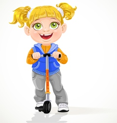 Little girl with pigtails on scooter vector