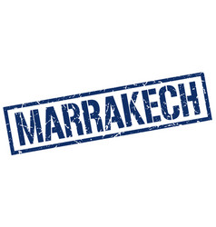 Marrakech blue square stamp vector