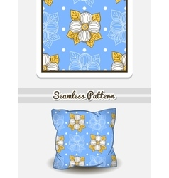 Pillow big flowers on blue vector