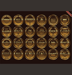 premium quality retro vintage golden labels vector image