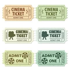 set of cinema tickets vector image vector image