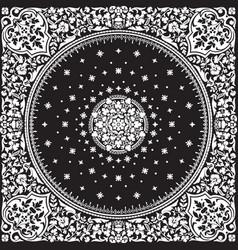 Victorian floral paisley medallion ornamental rug vector