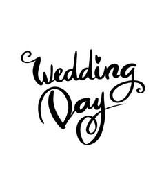 wedding day calligraphy for design vector image vector image