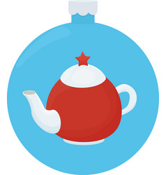 white and red teapot with red star cartoon vector image