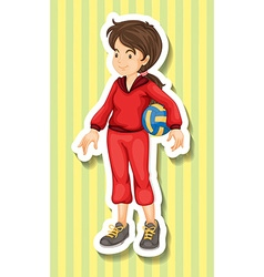 Woman in jumpsuit holding volleyball vector