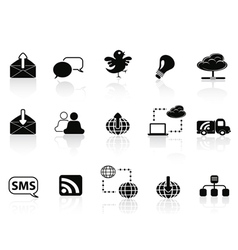 Internet social communications icon set vector