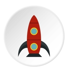 Rocket with portholes icon flat style vector image