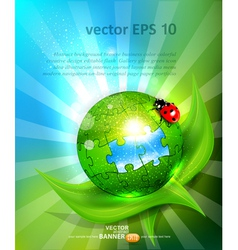 puzzles lying on green leaf with ladybug vector image