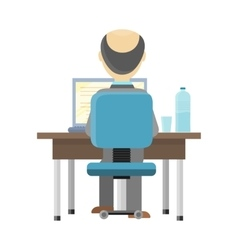 Man working on the computer vector