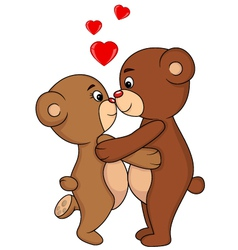 Bear couple kissing vector image