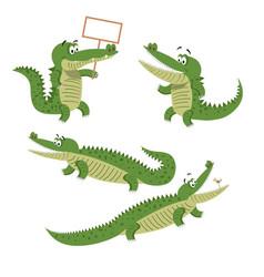 cartoon crocodiles isolated set vector image