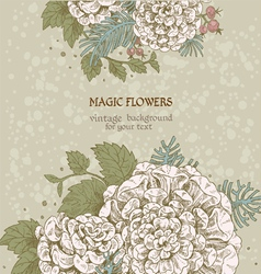 Magic flowers dream vintage background vector