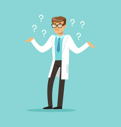Thoughtful doctor character having many questions vector