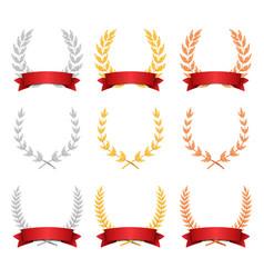 laurel wreath trophy set award placement vector image