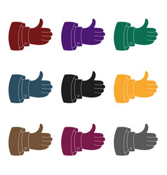 Thumb up icon in black style isolated on white vector