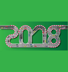 2018 happy new year race car vector image