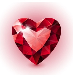 Red shining ruby heart shape on white background vector image