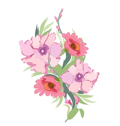 Watercolor archival art chrysanthemums bouquet vector