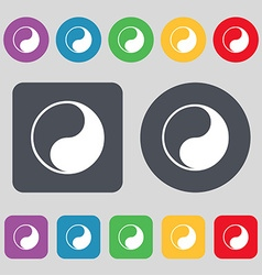 Yin yang icon sign a set of 12 colored buttons vector